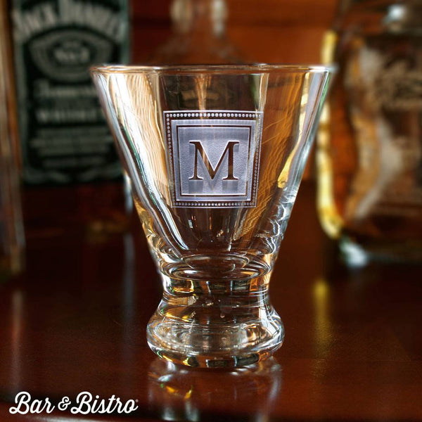 Barware - Square Monogram Engraved Martini Glass