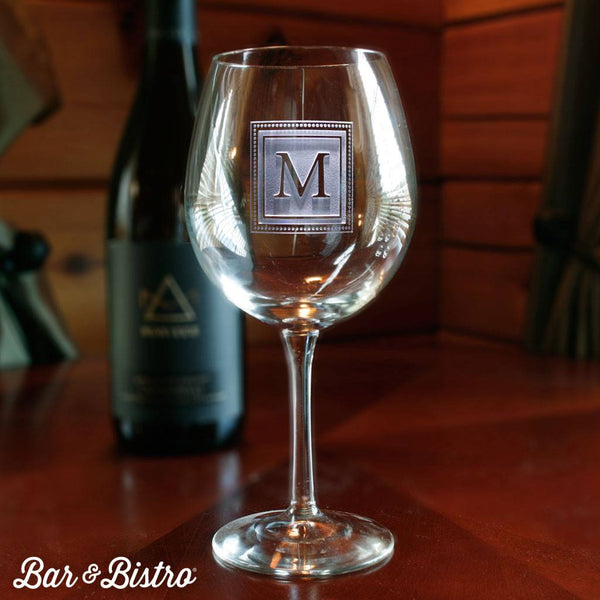 Barware - Square Monogram Engraved Red Wine Glass