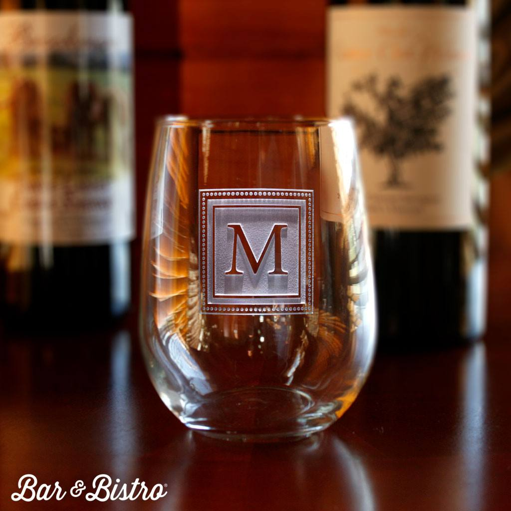 Barware - Square Monogram Engraved Stemless Wine Glass