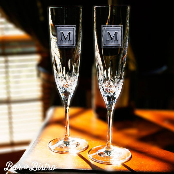 Barware - Square Monogram Engraved Waterford Champagne Glass Flute