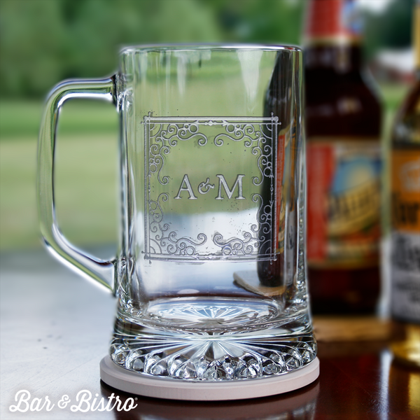 Curly Frame Two Initial Beer Mug - Bar and Bistro
