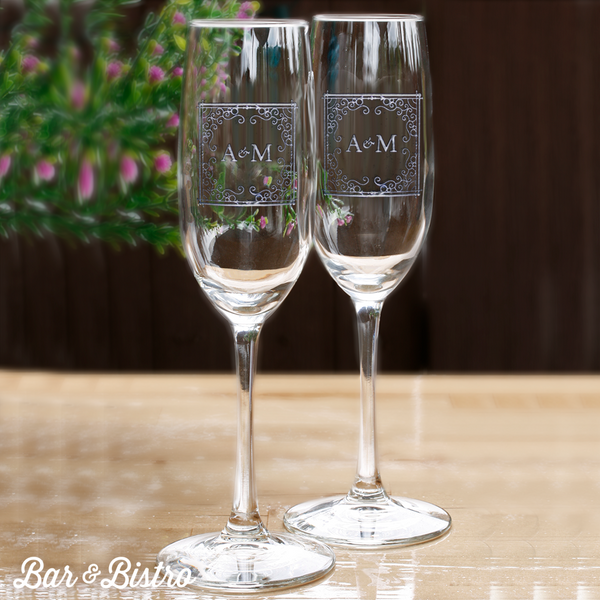 Curly Frame Two Initial Champagne Flute