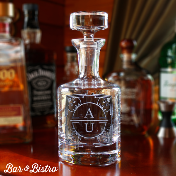 Art Deco Two Initial Decanter - Bar and Bistro