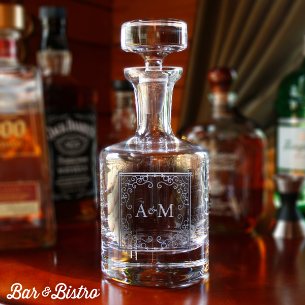 Curly Frame Two Initial Decanter - Bar and Bistro