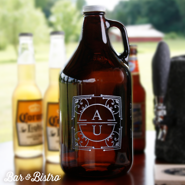 Art Deco Two Initial Growler - Bar and Bistro