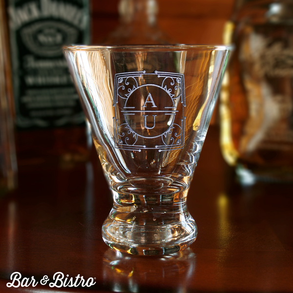 Art Deco Two Initial Martini Glass