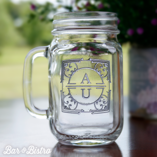 Art Deco Two Initial Mason Jar Glass - Bar and Bistro