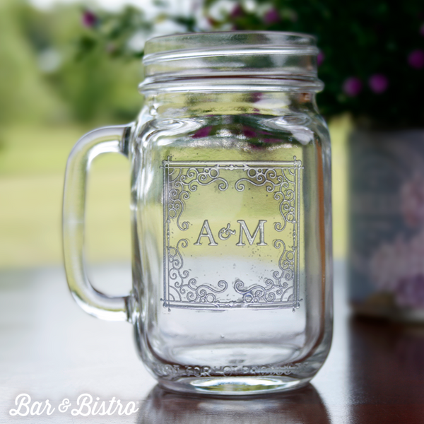 Curly Frame Two Initial Mason Jar Glass - Bar and Bistro