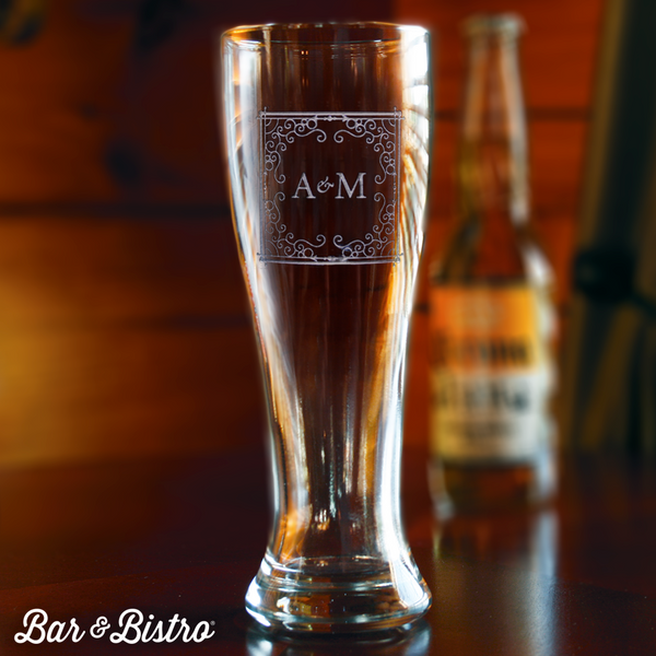 Curly Frame Two Initial Pilsner Beer Glass - Bar and Bistro