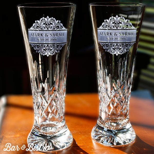 Pilsner - Engraved Floral Border Waterford Crystal Pilsners Glasses, PAIR