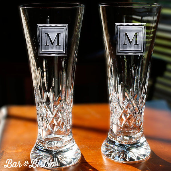 Pilsner - Engraved Square Monogram Waterford Crystal Pilsners Glasses, PAIR
