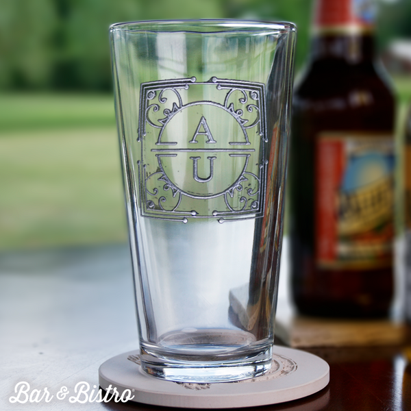 Art Deco Two Initial Pint Glass