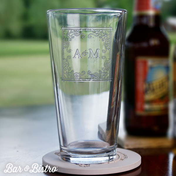 Curly Frame Two Initial Pint Glass - Bar and Bistro