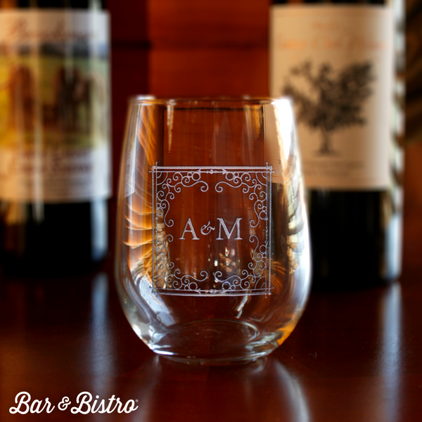 Curly Frame Two Letter Stemless Wine Glass