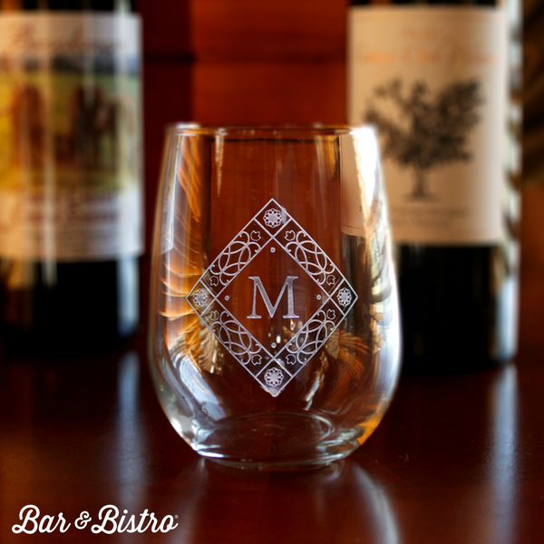 Diamond Monogram Stemless Wine Glass - Bar and Bistro