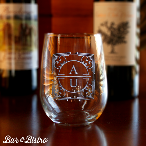 Art Deco Two Letter Stemless Wine Glass