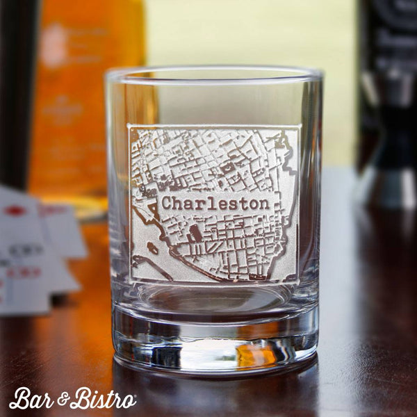 Whiskey And Rocks Glasses - Custom City Or Town Whiskey Glass
