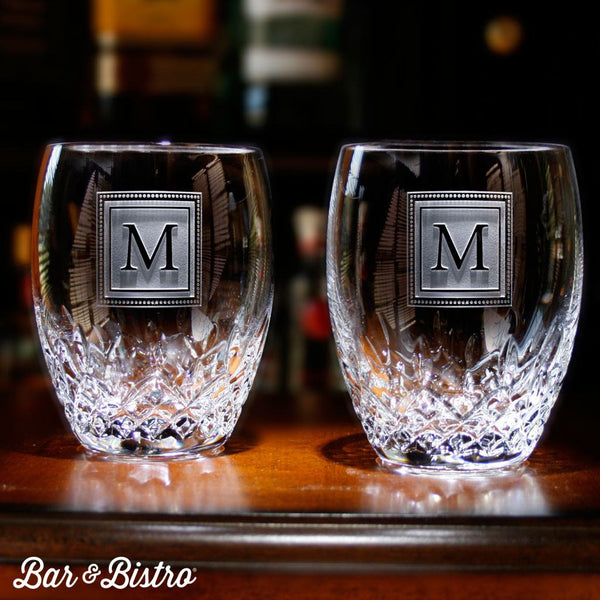 Whiskey And Rocks Glasses - Engraved Square Monogram Waterford Crystal Whiskey Glasses (Pair Of 2)