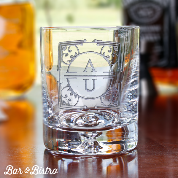 Art Deco Two Initial Whiskey/Rocks Glass