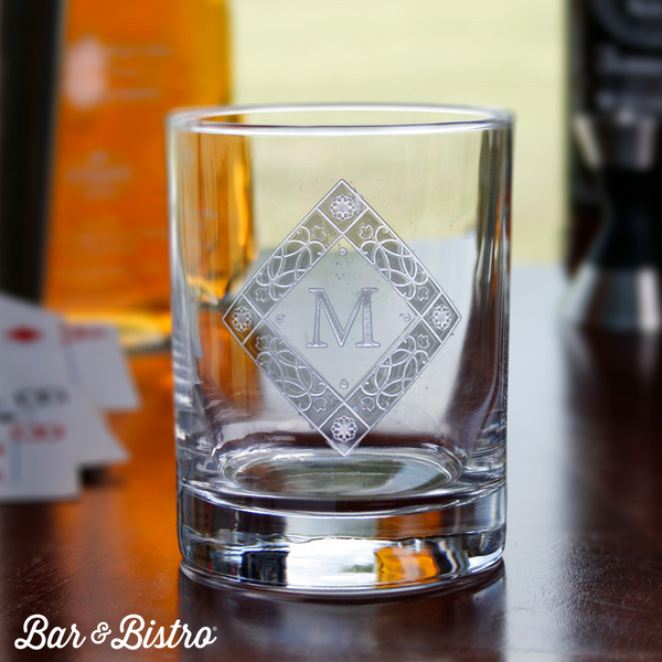 Diamond Monogram Engraved Whiskey/Rocks Glass