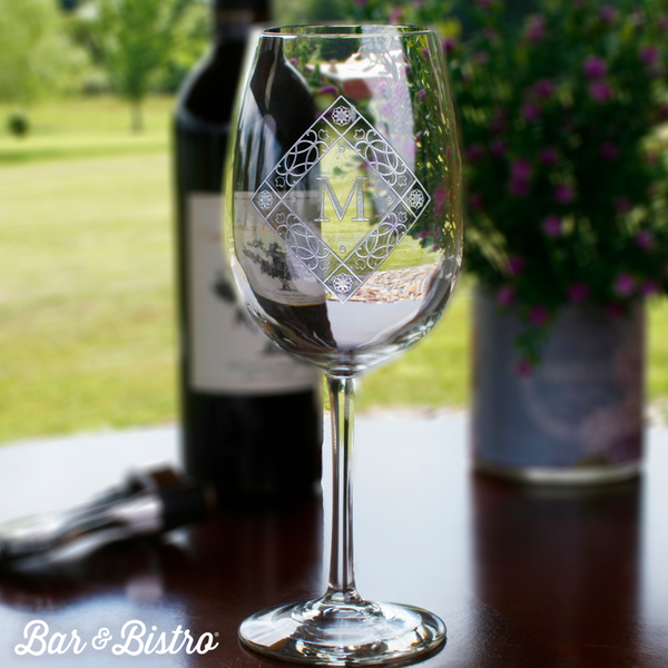 Diamond Monogram White Wine Glass