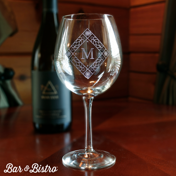 Diamond Monogram Red Wine Glass - Bar and Bistro