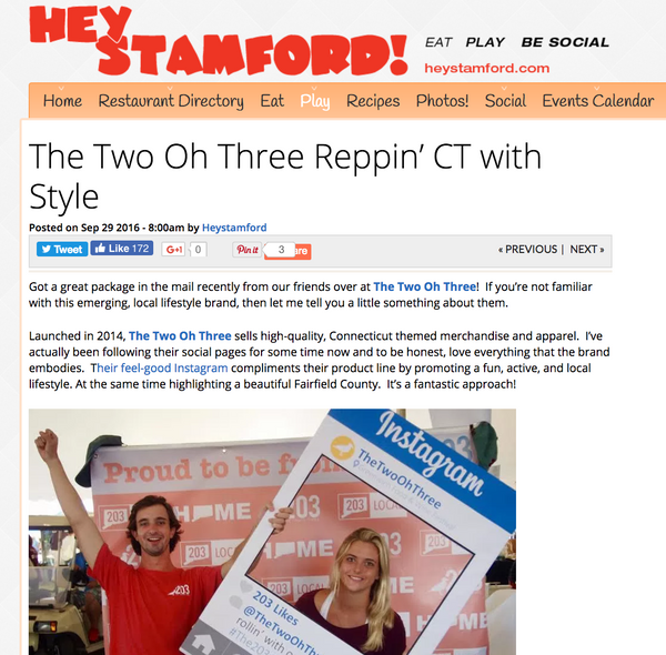 Hey Stamford-- The Two Oh Three Reppin' CT with Style