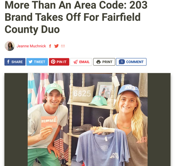 The Daily Voice: More Than an Area Code: 203 Brand Takes Off For Fairfield County Duo