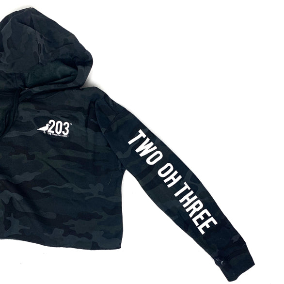 Lady's Black Camo Cropped Hoodie