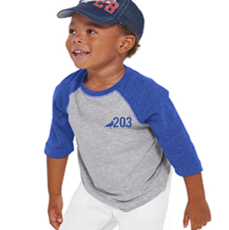 203 Toddler Baseball Tee- Blue - The Two Oh Three