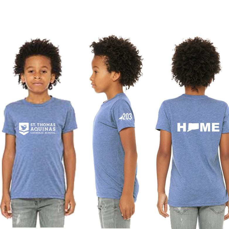 St. Thomas Youth Short Sleeve Tee (Heather Blue) - The Two Oh Three