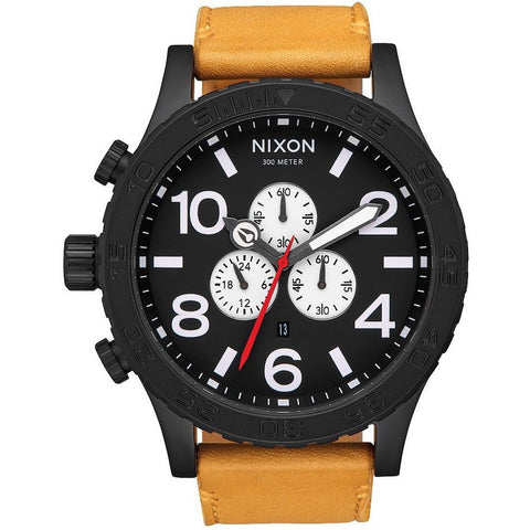 NIXON 51-30 CHRONO LEATHER - ALL BLACK/GOLDENROD