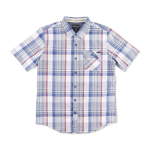ONEILL EMPORIUM PLAID SS BUTTONDOWN - BLUE