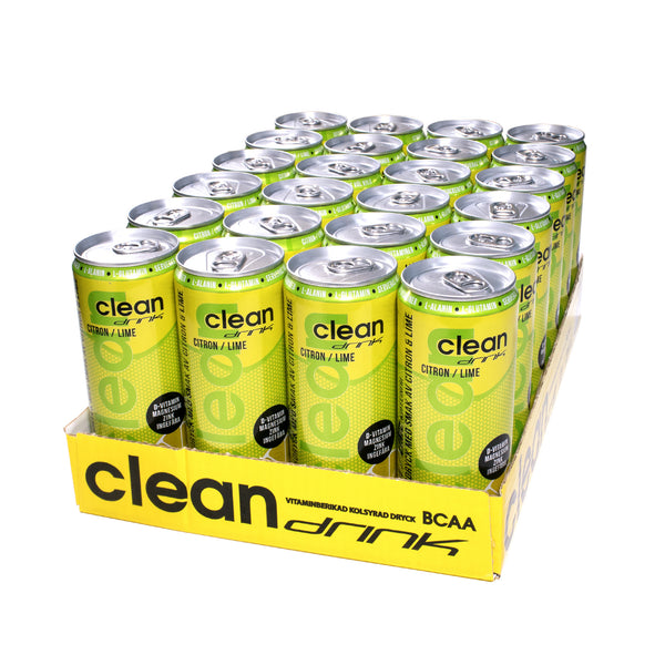 Clean Drink 24 x 330 ml | Citron / Lime (Koffeinfri) | Frakt ingår