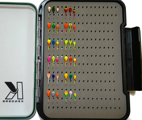 36 PIECE BRIGHT UV LARGE HOOK TUNGSTEN JIG SET WITH LARGE PAD BOX - Kenders Outdoors