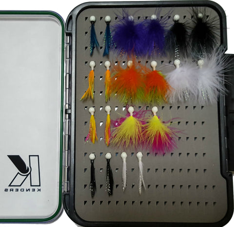 20 PIECE FEATHER/MARABOU JIG KIT WITH LARGE PAD BOX - Kenders Outdoors