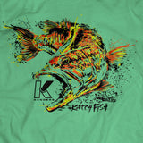 LARGEMOUTH BASS SPECIES T-SHIRT HEATHER GREEN - Kenders Outdoors