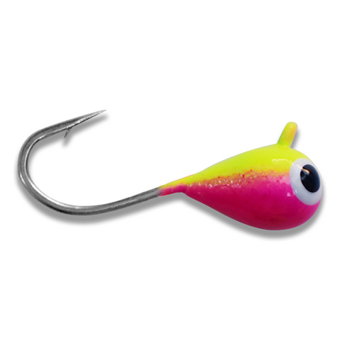 (LARGE HOOK SERIES) CHARTREUSE PINK BRIGHT UV TUNGSTEN JIG - Kenders Outdoors