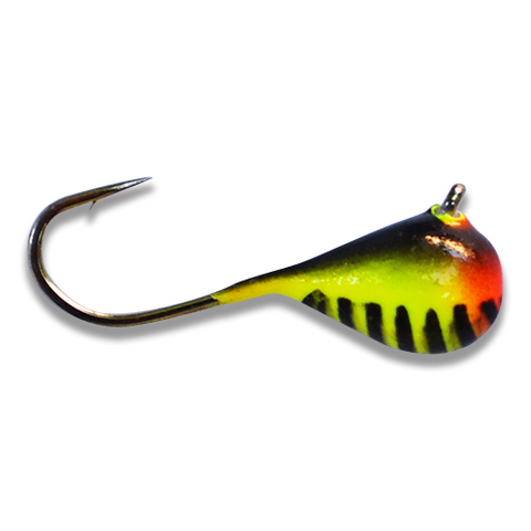 (LARGE HOOK SERIES) ORANGE/YELLOW BLACK STRIPE GLOW TUNGSTEN JIG - Kenders Outdoors