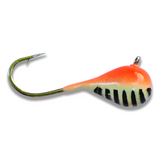 (LARGE HOOK SERIES) ORANGE STRIPE GLOW TUNGSTEN JIG - Kenders Outdoors