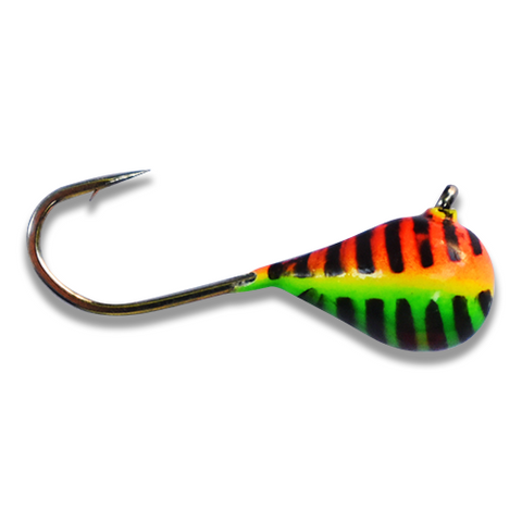 (LARGE HOOK SERIES) ORANGE/GREEN STRIPE GLOW TUNGSTEN JIG - Kenders Outdoors
