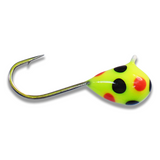 (LARGE HOOK SERIES) CHARTREUSE BLACK ORANGE SPOT GLOW TUNGSTEN JIG - Kenders Outdoors