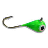 (LARGE HOOK SERIES) BRIGHT GREEN GLOW TUNGSTEN JIG - Kenders Outdoors