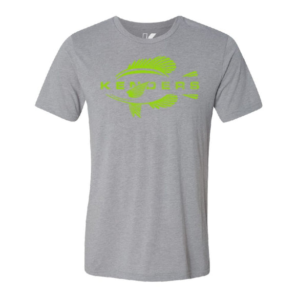 KENDERS GRAPHIC T-SHIRT GRAY/HI VIZ GREEN - Kenders Outdoors