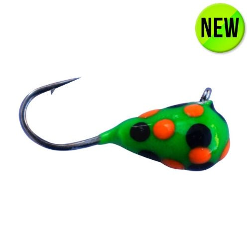 GREEN ORANGE BLACK SPOT GLOW TUNGSTEN JIG - Kenders Outdoors