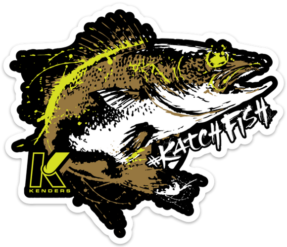 WALLEYE BUCKET DECAL DARK - Kenders Outdoors
