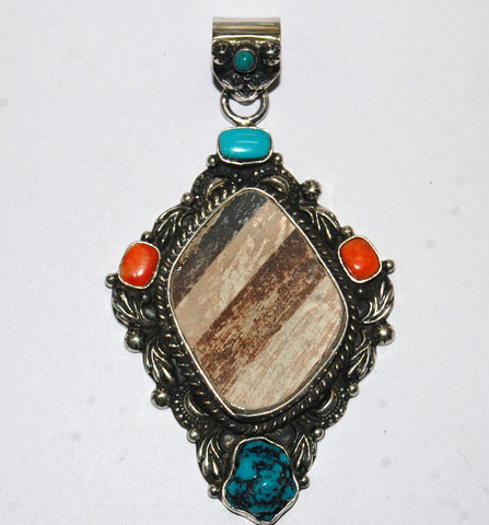 Ancient Ones Diamond | Sterling Silver Pendant With Spiny Oyster, Turquoise & Artifact - Native Marvels