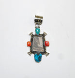 Ancient Ones Aster | Sterling Silver Pendant With Spiny Oyster, Turquoise & Artifact - Native Marvels