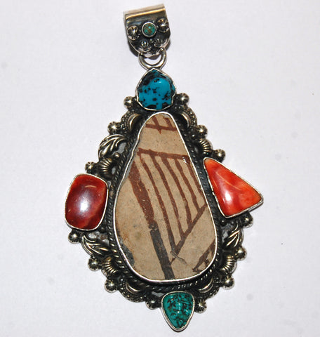 Ancient Ones Drop | Sterling Silver Pendant With Spiny Oyster, Turquoise & Artifact - Native Marvels