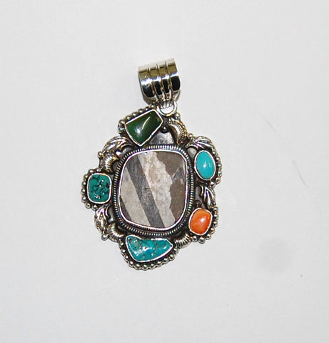Ancient Ones Infinity | Sterling Silver Pendant With Spiny Oyster, Turquoise & Artifact - Native Marvels